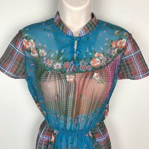Vintage Dresses - VTG 60s Row Joy High Neck Floral Sheer Day Dress